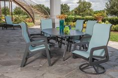 Malibu Sling MGP outdoor patio furniture by Windward Design Group, a family owned and operated US manufacturer. Dining Set With Bench, Outdoor Dining Set, Outdoor Furniture Sets, Outdoor Decor, Balcony Chairs, Bistro Set, Outdoor Settings, Outdoor Projects, Patio