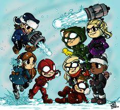 "Flash vs. Arrow (snowball edition) - Drawn by the lovely ""missmert."" :)"