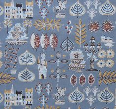 Vintage 50s Fabric Remnant - Novelty Whimsical Castles and Leaves