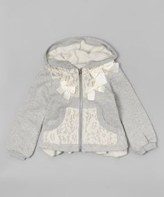 Another great find on #zulily! Gray Lace Zip Hoodie - Infant, Toddler & Girls #zulilyfinds