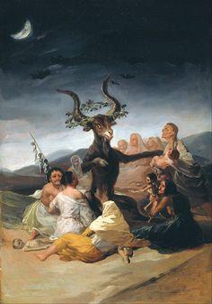 Witches' Sabbath 1789 Oil on canvas 43 x 30 cm By Francisco Goya (Spanish Francisco Goya, Arte Horror, Horror Art, Art Noir, Satanic Art, Art Ancien, Occult Art, Old Paintings, Classical Art