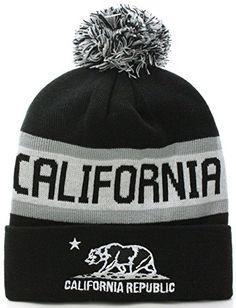 6aeaac887b9 California Republic Bear Cuff Pom Pom Beanie Knit Hat Cap - Many Colors  (One Size