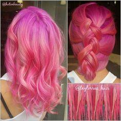 Pink Dreams by Taylor Rae. Shown: pink hair dye, pink braid and pink mermaid hair. fb.com/hotbeautymagazine #hotonbeauty