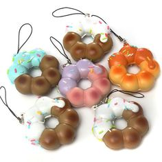 D, Cute Donut Bread Cell Phone Pendant Decoration With String Strap For iPhone M