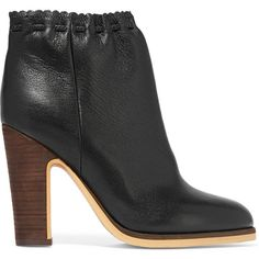 See by Chloé Scalloped textured-leather ankle boots ($365) ❤ liked on Polyvore featuring shoes, boots, ankle booties, black ankle boots, high heel ankle boots, black bootie, slip on boots and high heel booties