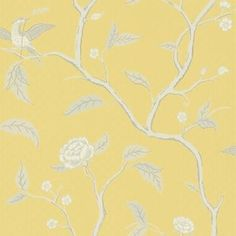 Marianne - Yellow wallpaper, from the Brunnsnas collection by Sandberg Sister Home, Victorian Gentleman, Osborne And Little, Drops Patterns, Cole And Son, Online Painting, Reading Room, Elegant Homes, Soft Colors