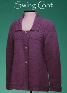 From the Designer This is a great coat for cool weather! It's flared silhouette skims nicely over the hips, so it flatters many different body types. The sweater was worked at a slightly tighter gauge than the yarn called for, which gives it more body - a good thing in a coat. -Sue McCain