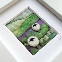 Sheep landscape original felted and embroidered artwork