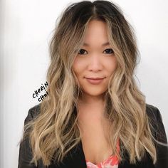 Blonde hair color for this natural black Asian hair #hair #Haircolor #color…