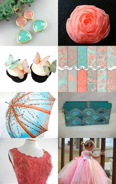 Coral and Turquoise Etsy Treasury by Linda Aitkin from ImageChest --Pinned with TreasuryPin.com Gorgeous palette of colors and beautiful creations.