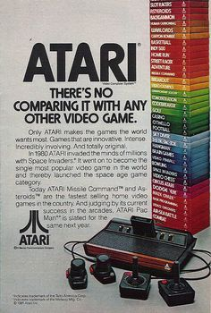 Atari 2600 ad, 1981 (wish there could still be good old fashioned video games like these) pitfall & donkey Kong were the best! Video Vintage, Vintage Video Games, Retro Video Games, Vintage Games, Vintage Toys, My Childhood Memories, Childhood Toys, Sweet Memories, Retro Ads