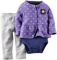 Carters Baby Girls 3 Piece Dotted Cardigan Set Baby  Gray  24 Months *** Check this awesome product by going to the link at the image. (This is an affiliate link)