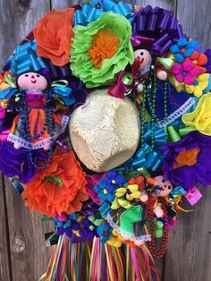 Handmade Fiesta Wreath is perfect for Cinco de Mayo, San Antonio Fiesta, Mexican Decor, Party decoration, or Housewarming gift. Unique and fun gift! Mexican Paper Flowers, Paper Flower Wreaths, Fiesta Theme Party, Party Themes, Party Ideas, Ward Christmas Party, Christmas Ideas, Christmas Tree, Mexican Christmas