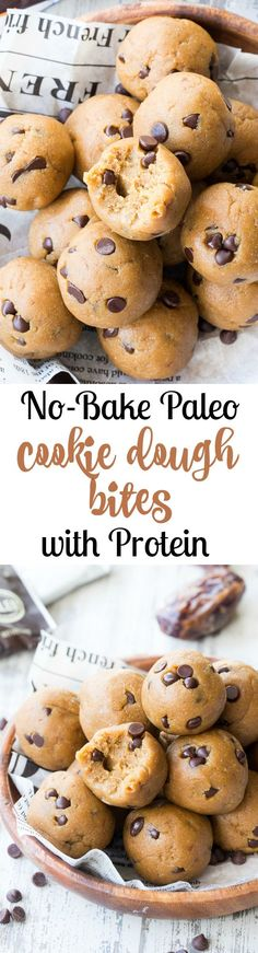 These tasty no-bake Paleo cookie dough bites are made with real-food ingredients, sweetened with dates and bananas and pack a punch of Paleo friendly protein along with the taste and texture of chocolate chip cookie dough! #AD #Clovisculture #perfectpaleopowder