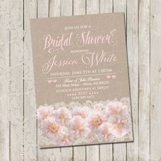Rustic Bridal Shower Invitation Vintage Bridal by WallflowerEvents