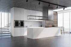White Counters, White Concrete, Wooden Kitchen, Concrete Floors, Kitchen Interior, Backsplash, Flooring, Modern, Furniture