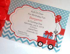 Red Wagon Invitation Wagon Invitation Wagon Invite by DotsAndGingham, $12.00