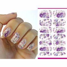 2016 Nails Art Sticker Gray Purple Flowers Design Nails Foil Sticker Minx Harajuku Fashion Manicure Decor Decal ZJT002