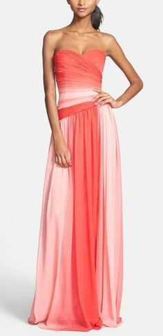 Long ombré bridesmaid dress in shades of pink
