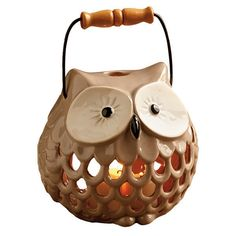 Grey Owl Ceramic Lantern ❤ liked on Polyvore featuring home, home decor, candles & candleholders, fillers, candles, decor, owl, owl home decor, owl candle y gray candles