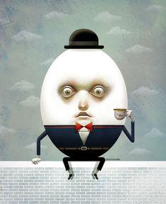 Humpty Dumpty Art Print by cristosalgado - X-Small Humpty Dumpty, Kids Lighting, Egg Art, Portrait Art, Alice In Wonderland, Abstract Art, Cartoon, Art Prints, Drawings
