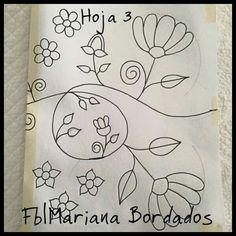 Hoja 3                                                                                                                                                                                 Más Embroidery Flowers Pattern, Embroidery Works, Embroidery Motifs, Embroidery Hoop Art, Hand Embroidery Designs, Embroidered Flowers, Mexican Pattern, Bordados E Cia, Mexican Embroidery