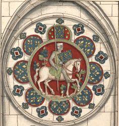 Saint Louis, roi de France (Gaignières 76) -- Dessin d'un vitrail de N.-D. de Chartres [BNF Bouchot, 76] -- «Le Roy Saint Louis armé en guerre, 1270.»