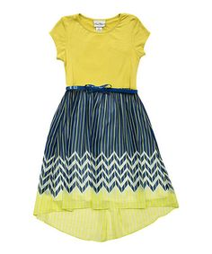 Loving this Lime Chevron Hi-Low Dress - Girls on #zulily! #zulilyfinds