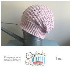 Tunella's Geschenkeallerlei präsentiert: das ist Ina, eine geniale gehäkelte Haube/Mütze aus einer Baumwolle/Acryl-Mischung - Du kannst dich warm anziehen, dank sorgfältigem Entwurf, liebevoller Handarbeit und deinem fantastischen Geschmack wirst du umwerfend aussehen. #TunellasGeschenkeallerlei #Häkelei #drumherum #Beanie #Haube #Mütze #handgemacht #Geschenk #Ina