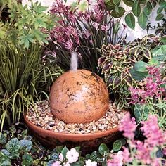 Constructed with a strawberry jar, azalea pot, and terra-cotta bowl, this fountain is ideal for a deck or patio. It will beckon you to relax by its soothing bubbling water.