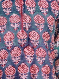 Red-Blue Block Printed Chanderi Double Layer Kurta by Jaypore
