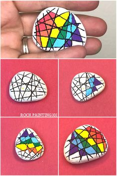 Make a straight line on a rock, even if it's bumpy, with this simple rock painting hack. Use this trick to create a beautiful abstract rainbow painted rock. #rainbowrockpainting #howtodrawastraigtline #howtopaintrocks #rockpaintingideas #rockpaintingforbeginners #stonepainting #abstractrainbow #rockpainting101