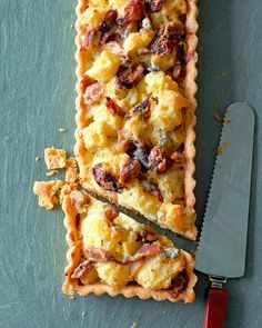 A blue cheese bechamel makes this tart deliciously rich, so you need only a small piece. It's a good starter or side dish for a holiday meal, but it works just as well for lunch or a light dinner with a green salad.
