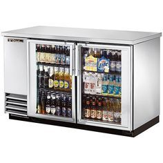 59  Glass Swing Door Stainless Steel Back Bar Cooler with LED Lighting