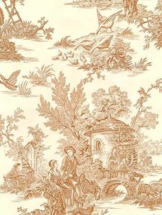 Brown & Cream Colonial Toile Wallpaper DS106712    $29.99  + $8.99 to ship   (7 avail)