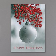 Take traditional seasonal greetings to an artistic level with the photograph of red berries and a frosty ornament on this holiday card. Made from recycled paper by manufacturers using renewable energy sources. Business Christmas Cards, Christmas Greeting Cards, Christmas Greetings, Holiday Cards, Budget Holidays, All Holidays, Christmas Holidays, Christmas Bulbs, White Ornaments