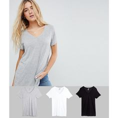 ASOS V-Neck Swing T-Shirt 3 Pack (100 ILS) ❤ liked on Polyvore featuring tops, t-shirts, multi, relax t shirt, short sleeve v neck t shirt, vneck t shirts, short sleeve tee and v neck tee