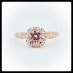 14K Rose Gold Morganite Engagement Ring by SerenadeDiamonds, $1690.00