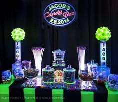 Awesome Neon Bar Mitzvah Candy Buffet » Party Perfect