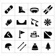 Set Icons of Skiing and Snowboarding Isolated on White  ? Available RGB color  ? Good choice for use in infographic and interface