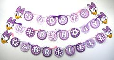 Purple Daisy Duck Themed Happy Birthday Banner Party