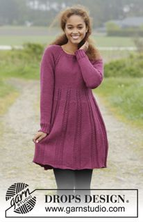 """Josephine - Knitted DROPS dress with raglan and cables, worked top down in """"Karisma"""". Size S-XXXL. - Free pattern by DROPS Design"""