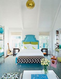turquoise + chartreuse + white