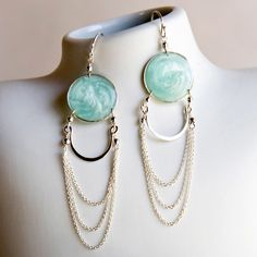 Aegean Blue Earrings Sterling  by Carla De La Cruz