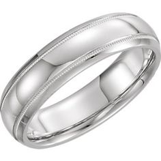 Complete No Setting 14kt White 6 mm Polished Half Round Comfort Fit Band with Milgrain