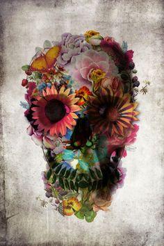 Cool flower skull design
