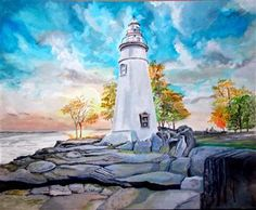 """""""Lighthouse Marblehead"""" by James Corcoran has been entered into November's Featured Artist Contest. Go here to vote: http://woobox.com/mtefsx"""