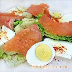 Cogollos de lechuga con salmón