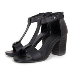 High Thick Heel Sandals Open Toe T Shape Strap black