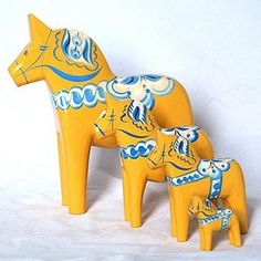 Set of Dala Horses handcrafted in Sweden